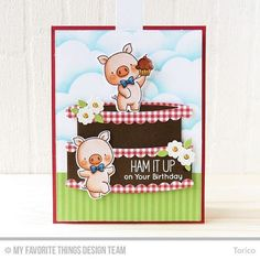 For Day 2 of the MFT Card Kit Countdown, I combined the kit with the Hog Heaven set. The new kit will be available for purchase TONIGHT at 10:00 pm EDT!  #mftstamps #mftcardkit #birdiebrown #handmadecards #cardmaking #birthdaycard