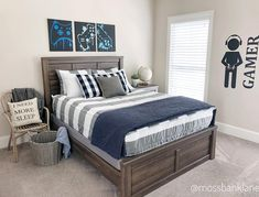 Behold a sight that's never been seen before! (Cue the angels singing and the harps playing!) This is my son's room and it has never,… Boy Decor, Harp, Kids Bedroom, Farmhouse Style, Singing, Angels, Tween, Furniture, Bedrooms