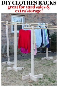 Home Decor art DIY Clothes Rack for Garage Sales and Yard Sales Need help with your home organization and clothes? Here is a DIY Clothes Rack with Free Printable Size Dividers! A fun DIY home decor project for the whole family. Diy Home Decor Projects, Cool Diy Projects, Clothes Line, Clothes For Sale, Making Clothes, Diy Bathroom, Diy Clothes Refashion, Diy Clothes Videos, Garment Racks