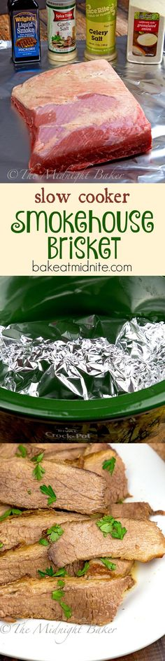 Slow Cooker Smoked Brisket brisket on a large sheet of aluminum foil. with the seasonings and wrap up and seal foil tightly. in crock pot, cover and cook on high hours, low Crock Pot Food, Crockpot Dishes, Crock Pot Slow Cooker, Beef Dishes, Slow Cooker Recipes, Meat Recipes, Crockpot Recipes, Cooking Recipes, Smoker Recipes