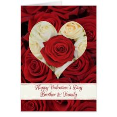 Brother & Family Happy Valentine's Day Roses Card