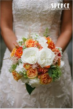 Bridal Bouquet with White Garden Roses, Peach Garden Roses, Astilbe, Seeded Eucalyputus, Ranunculus, Stock, Dahlias
