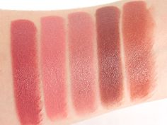 Milani Color Statement Lipsticks. Swatches (L-R) Naturally Chic, Nude Crème, Dulce Caramelo, Teddy Bare & Candied Toffees