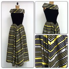 1940s Formal Dress 40s Chevron by CreatedAndCollected on Etsy, $198.00
