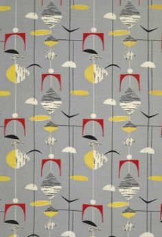 Pattern design by Marian Mahler (1911-1983) 1950s, Grey Mobiles.