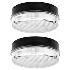 2x Sylvania Guide Low Energy 16w Round Bulkhead Light Black Base IP65 Low Energy 16Watt 2D Lamp Included Square Drum Ceiling Wall Bulkhead Light Fitting 240V Black Base With Prismatic Diffuser 16 Watt 2D Lamp Included Ideal For Pedestrian Corridors, Stairwells, Subways, Garden, Garage, Shed, Bathroom, Toilet, WC, Home, Shop, Factory, Warehouse, Showroom & General Amenity Security Areas: Amazon.co.uk: Lighting