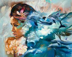 No Mundo dos Livros   Livros, Filmes, Séries, e muito mais...: A poética arte de… Dimitra Milan, Polynesian Art, Hawaiian Art, Beauty Art, Portrait Art, Art Inspo, Painting & Drawing, Amazing Art, Fantasy Art
