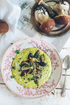 creamy turmeric mash and seasonal porcini