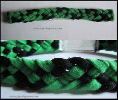 Opaska na włosy ze sznurówek i gumki, zielono-czarna www.facebook.com/BransoletkizMuliny www.jagodagorna.com