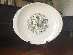 Peacock Garden Steubenville Serving Platter Tray - Vintage Retro Mid Century Modern by shhhitsvintage on Etsy https://www.etsy.com/listing/449097806/peacock-garden-steubenville-serving