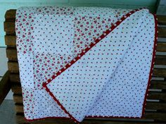 Hand Quilted Baby Quilt , red white quilt, Baptism quilt gift, Keepsake quilt, Handmade quilt, Stroller Pad, Small Quilt, One of a Kind