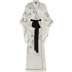 Carine Gilson Long Silk Kimono Robe (12.285 VEF) ❤ liked on Polyvore featuring intimates, robes, dresses, kimonos, costume, silk kimono, silk flower robe, silk robe, flower kimono and long robe