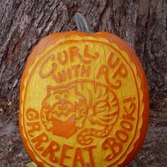 Amazing kidlit-focused pumpkin carved by children's book author/illustrator David LaRochelle.