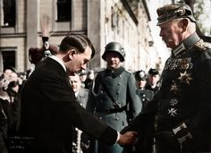 "historicaltimes: "" Adolf Hitler shakes hands with Paul von Hindenburg at the opening of the new Reichstag in Potsdam, March 21, 1933 """
