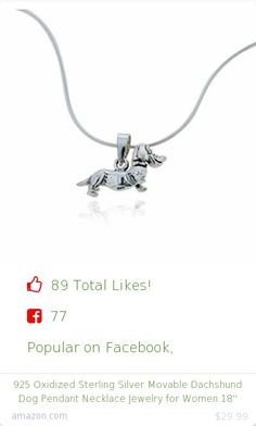 Top christmas gift on Facebook.  Top christmas gift on undefined 89 people likes on Internet. 77 facebook likes. chuvora amazon christmas gift. 925 oxidized sterling silver movable dachshund dog pendant necklace jewelry for women 18'' from amazon christmas gifts. http://www.MostLikedGifts.com/top-popular-christmas-gifts/amazom-christmas-gift-B003EX7TTU-925-oxidized-sterling-silver-movable-dachshund-dog-pendant-necklace-jewelry-for-women-18''