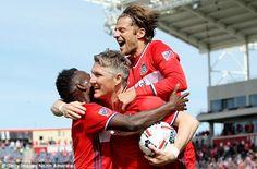 Bastian Schweinsteiger celebrates scoring on debut for Chicago Fire against Montreal Impact