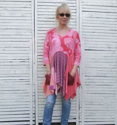 Upcycled Tunic, Upcycled Clothing, Tropical Colors, Size L-XL