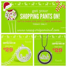 Did you miss Black Friday deals?  Don't worry.  Origami Owl has two amazing Cyber Monday deals!  And there's still Free Shipping through tomorrow (that means more money for that extra charm you want).  Deals begin at 10pm Pacific time tonight!  Don't miss out!  Tomorrow is the last day for free shipping! Order at https://rosag.origamiowl.com/shop/party/198972