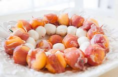 Prosciutto-wrapped melon with Mozzarella cheese! a perfect summertime appetizer…
