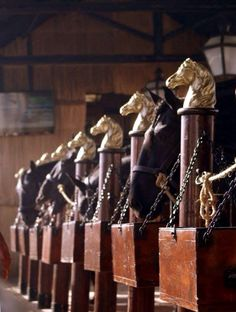 Inside the horses stable.