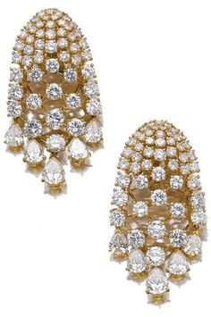 Earrings from a gold and diamond demi-parure by Van Cleef and Arpels, circa Via Diamonds in the Library. Black Diamond Earrings, Diamond Jewelry, Diamond Necklaces, Bling Bling, Van Cleef And Arpels Jewelry, Jewelry Stores Near Me, Silver Diamonds, Buy Diamonds, Diamond Cuts