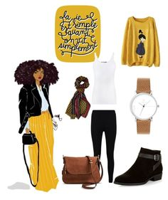 """""""Mustard"""" by lidibarq on Polyvore featuring moda, Laruze, Boohoo, New Look, Moda Luxe y Vince"""