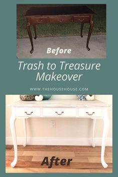 Click to see how I transformed this outdated console table that was meant for the garbage trucks into a coastal masterpiece. Furniture Projects, Furniture Makeover, Diy Furniture, Repurposed Furniture, Painted Furniture, Side Coffee Table, Trash To Treasure, Living Room Bedroom, Coastal Decor