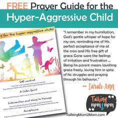 FREE Prayer Guide for the Hyper-Aggressive Child Train Up A Child, Child And Child, Spiritual Encouragement, Gods Grace, Free Printables, Activities For Kids, Prayers, How To Apply, Children