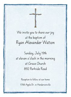 Blue Cross Invitations For A Baptism-  A simple cross with blue border and background is featured on this card. Invite your friends and family to your baptism, christening, first communion or any other special event with this simple Christian card.