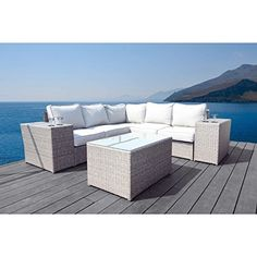 Shop for Living Source International Chelsea Modular Grey Aluminum/Wicker Sectional Set. Get free delivery On EVERYTHING* Overstock - Your Online Garden & Patio Shop! Outdoor Seating, Outdoor Decor, Outdoor Fun, Outdoor Spaces, Rattan Sofa, Wicker, Grey Sectional, Adjustable Table, Furniture