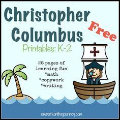 Free Christopher Columbus Printables K-2 #homeschool | embarkonthejourney.com