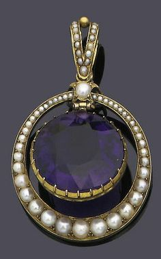 I'm just gaga about seed pearls. A late century amethyst and half-pearl pendant The circular mixed-cut amethyst within a tapered swing circlet surround, set with a graduated row of half-pearls, length Amethyst Jewelry, Pearl Jewelry, Jewelry Art, Jewelery, Jewelry Accessories, Victorian Jewelry, Antique Jewelry, Vintage Jewelry, Royal Jewels