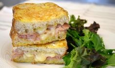 This classic French sandwich makes a wonderful Sunday brunch. Melted Gruyere cheese, Dijon mustard and thinly shaved ham sandwiched between two thick cut pieces of Focaccia bread then dipped in egg and pan fried.
