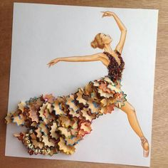 This is so cool. This is so unique! Colored pencil shavings as her dress! It's so artistic! I love it!