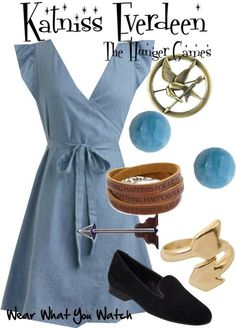 Inspired by Jennifer Lawrence as Katniss Everdeen in The Hunger Games.I'd wear everything but the shoes. Disney Bound Outfits, Disney Inspired Outfits, Themed Outfits, Hunger Games Outfits, Fandom Outfits, Supernatural Outfits, Character Inspired Outfits, Fandom Fashion, Casual Cosplay