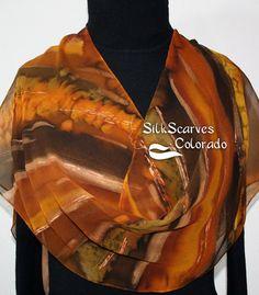 Hand Painted Silk Scarf. Golden Terracotta by SilkScarvesColorado