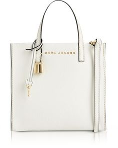 Marc Jacobs White Glow Leather The Mini Grind Tote Bag
