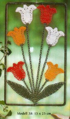 🌷 Aplique de Tolipas em Crochê - / 🌷 Apply in Tulips of Crochet - Crochet Leaves, Knitted Flowers, Crochet Flower Patterns, Thread Crochet, Crochet Designs, Crochet Diagram, Crochet Motif, Irish Crochet, Diy Crochet