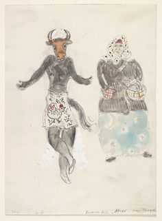 Marc Chagall. A Russian Baba and a Cow, costume design for Aleko (Scene IV). (1942)