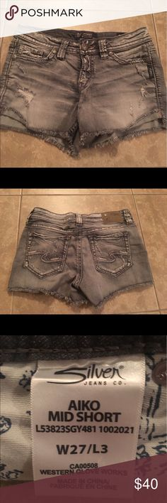 Silver Jeans Co. Mid-length Distressed Shorts Grey distressed shorts size 27 Silver Jeans Shorts Jean Shorts