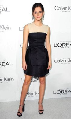 Emma Watson in a Calvin Klein dress at an awards ceremony in LA - Tuesday 16 October 2012