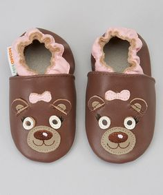 Love this Brown Mrs. Bear Leather Booties - Infant by MOMO Baby on #zulily! #zulilyfinds