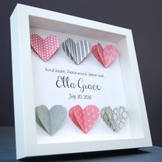 This personalized baby shadowbox features beautiful hand-made 3D paper hearts, a…