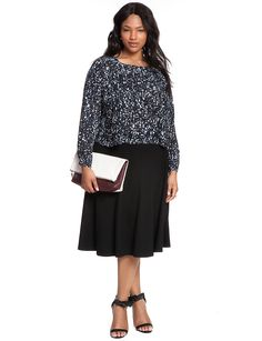 Ponte Circle Skirt   Women's Plus Size Skirts   ELOQUII