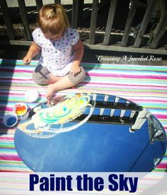 Paint the sky by laying a mirror outside facing upward. A fun and educational way to explore the sky.