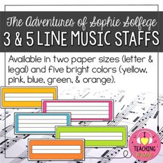 This item is part of The Adventures of Sophie Solfege Series. Perfect for lessons focusing on placing notes on the music staff. Available in 2 paper sizes (letter & legal). Comes in 5 bright colors (yellow, pink, blue, green, & orange). (That's 20 different color & size options!)