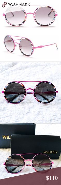 61% OFF! WILDFOX Winona Pink Round Sunglasses Reasonable offers welcome. Same or next day shipping. Retails at $199, sold out in stores. For laid-back L.A. style, pair WILDFOX's round, vintage-inspired sunnies w/ denim cut-offs & a slouchy T-shirt. The Winona features a trendy frame, inspired by 80's glam. Handmade metal frame accented with Italian acetate inserts. CR39 optical grade lenses offering UV A and B protection. 3 barrel French comotec hinge. Case, box and cleaning cloth included. 100% Protection Logo, 50 Mm Lens, Handmade Frames, Denim Cutoffs, Wildfox, Fashion Design, Fashion Tips, Fashion Trends, Sunglasses Accessories