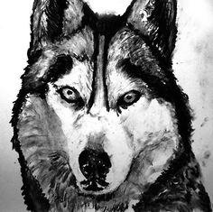 Husky dog art print black and white Husky by OjsDogPaintings #husky #huskies #siberianhusky #dogs