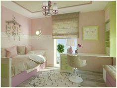 Zimmer für Mädchen in rosa, grün und weiss