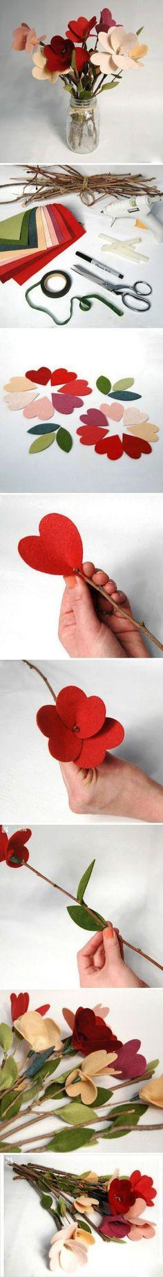DIY- Flor de feltro para decorar - Blog de decoração - Casa de Firulas